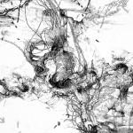 Bacillus (Bt) n°1, dessin sur plexiglass, 80 x 80 cm, 2017. Transfiguration et dévoilement de la bactérie Bacillus thuringiensis (Bt) utilisée classiquement en agriculture.