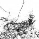 Bacillus (Bt) n°4, dessin sur plexiglass, 80 x 80 cm, 2017. Transfiguration et dévoilement de la bactérie Bacillus thuringiensis (Bt) utilisée classiquement en agriculture.