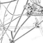 Germe 9 – série « H2O », 200 x 100 cm, dessin à l'encre sur papier ; transfiguration et dévoilement de l'intimité cellulaire d'une goute d'eau, 2016.