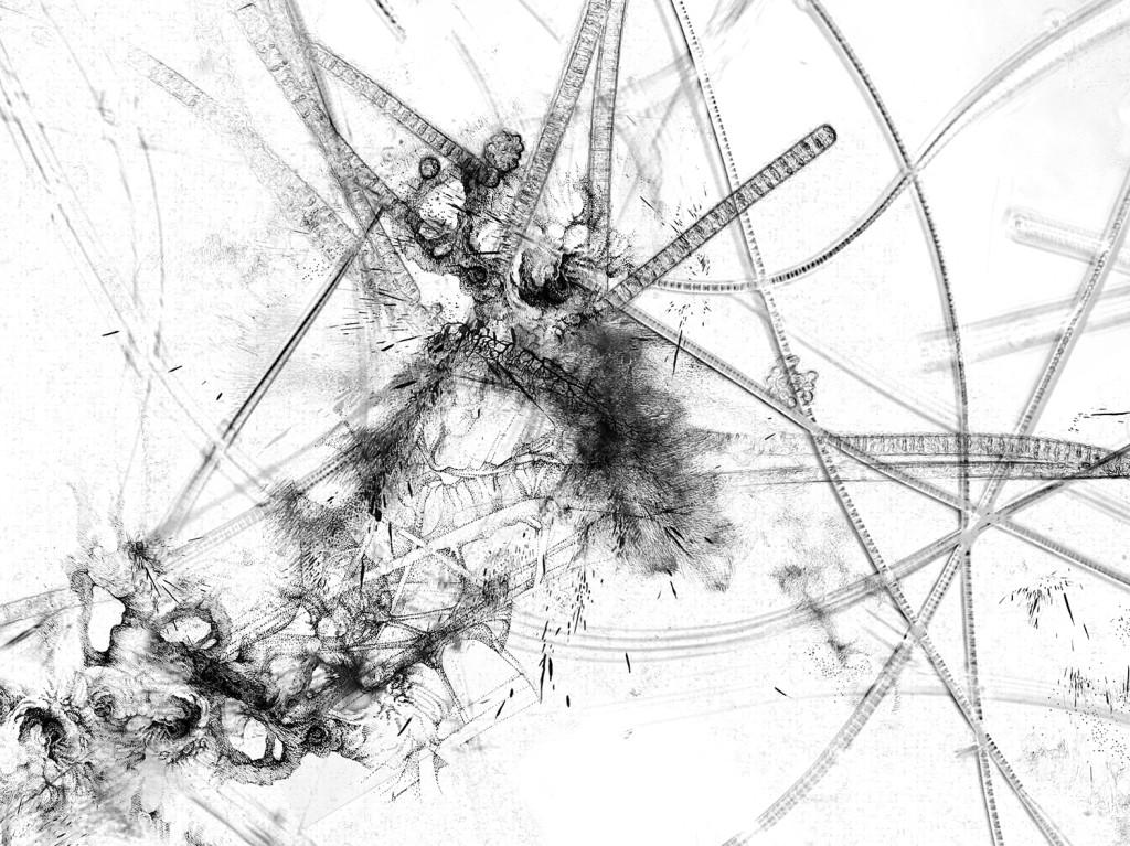 Germe 1 – série « H2O », dessin à l'encre sur images de microscopie obtenues par microscopie de fluorescence et contraste de phase ; transfiguration et dévoilement de l'intimité cellulaire d'une goute d'eau, impression sur verre, dimensions variables, 2016.
