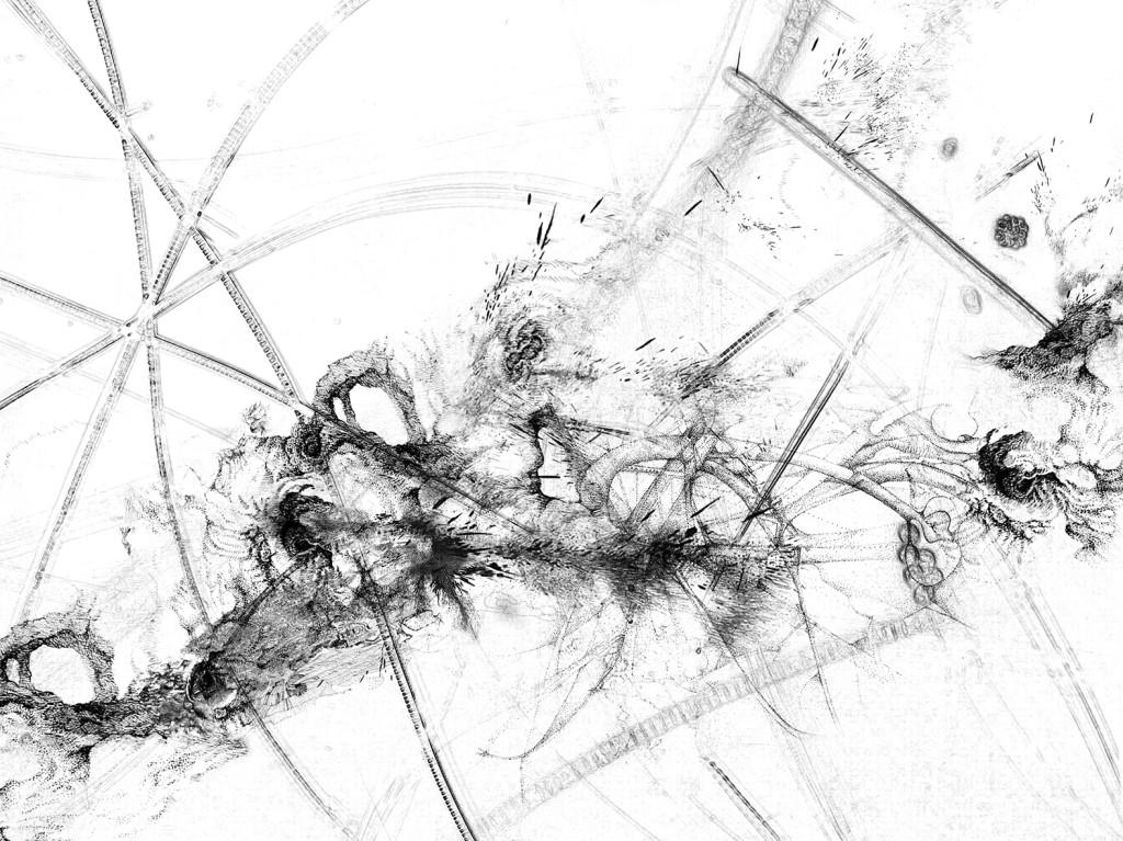 Germe 2 – série « H2O », dessin à l'encre sur images de microscopie obtenues par microscopie de fluorescence et contraste de phase ; transfiguration et dévoilement de l'intimité cellulaire d'une goute d'eau, impression sur verre, dimensions variables, 2016.