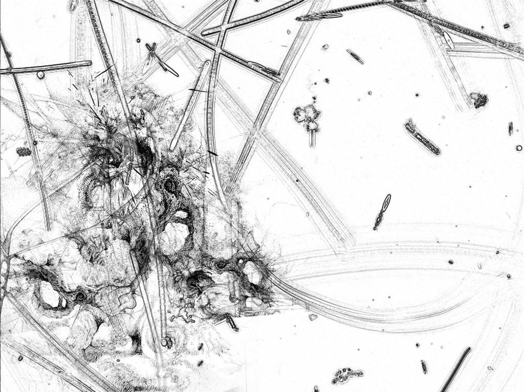 Germe 7 – série « H2O », dessin à l'encre sur images de microscopie obtenues par microscopie de fluorescence et contraste de phase ; transfiguration et dévoilement de l'intimité cellulaire d'une goute d'eau, impression sur verre, dimensions variables, 2016.